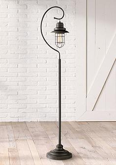 Task reading floor lamps lamps plus canada ulysses oil rubbed bronze industrial lantern floor lamp aloadofball Image collections
