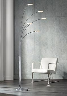 Arc floor lamps reading lights lamps plus possini euro aldo chrome 5 light led arc floor lamp aloadofball Images