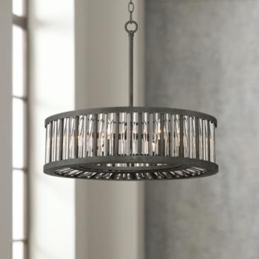"Brixton Black and Silver 24"" Wide Drum Pendant Light"