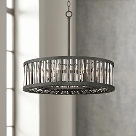 Brixton Black And Silver 24 Wide Drum Pendant Light