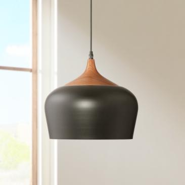 "Felton Black Aluminum and Wood 12"" Wide Pendant"