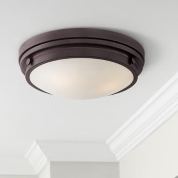 "Lucerne 15"" Wide English Bronze Button Ceiling Light"