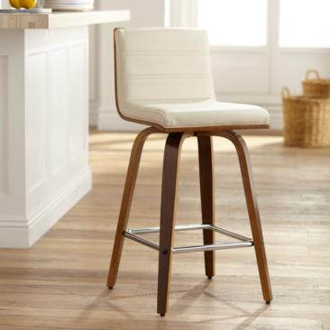 "Vienna 25 1/4"" Cream and Walnut Swivel Counter Stool"