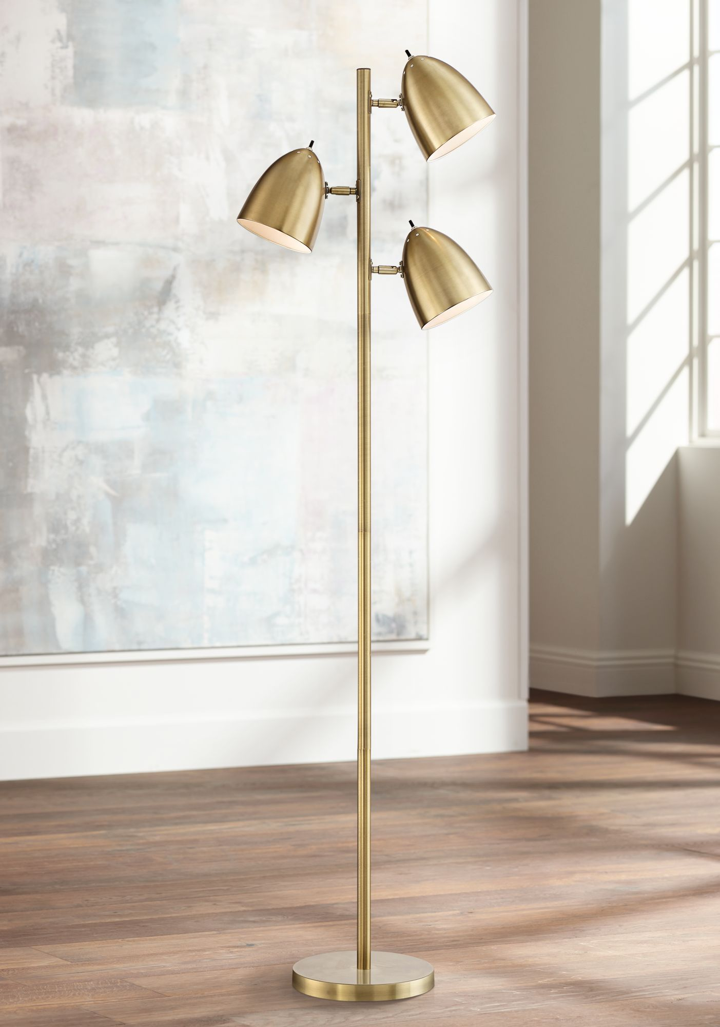 Aaron Aged Brass 3 Light Floor Lamp