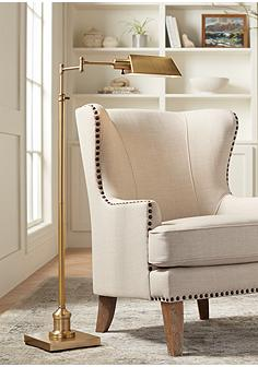 Traditional task reading floor lamps lamps plus jenson aged brass pharmacy floor lamp aloadofball Image collections