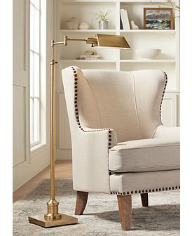 Jenson Aged Brass Adjustable Pharmacy Floor Lamp
