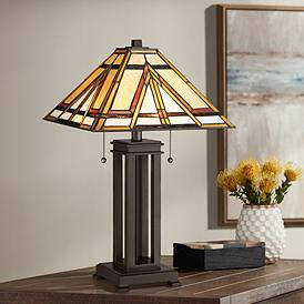 Quoizel Gibbons Russet Mission Style 2 Light Table Lamp