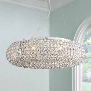 "Konterra 24"" Wide Chrome Crystal Pendant Light"
