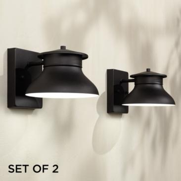 "Danbury 5"" High Black LED Outdoor Wall Lights Set of 2"