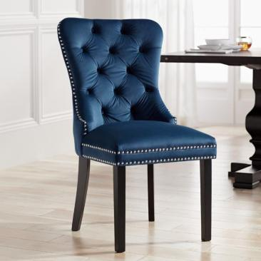 Euphoria Tufted Blue Velvet Dining Chair