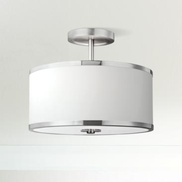 "Feiss Prospect Park 12 3/4""W Satin Nickel Ceiling Light"