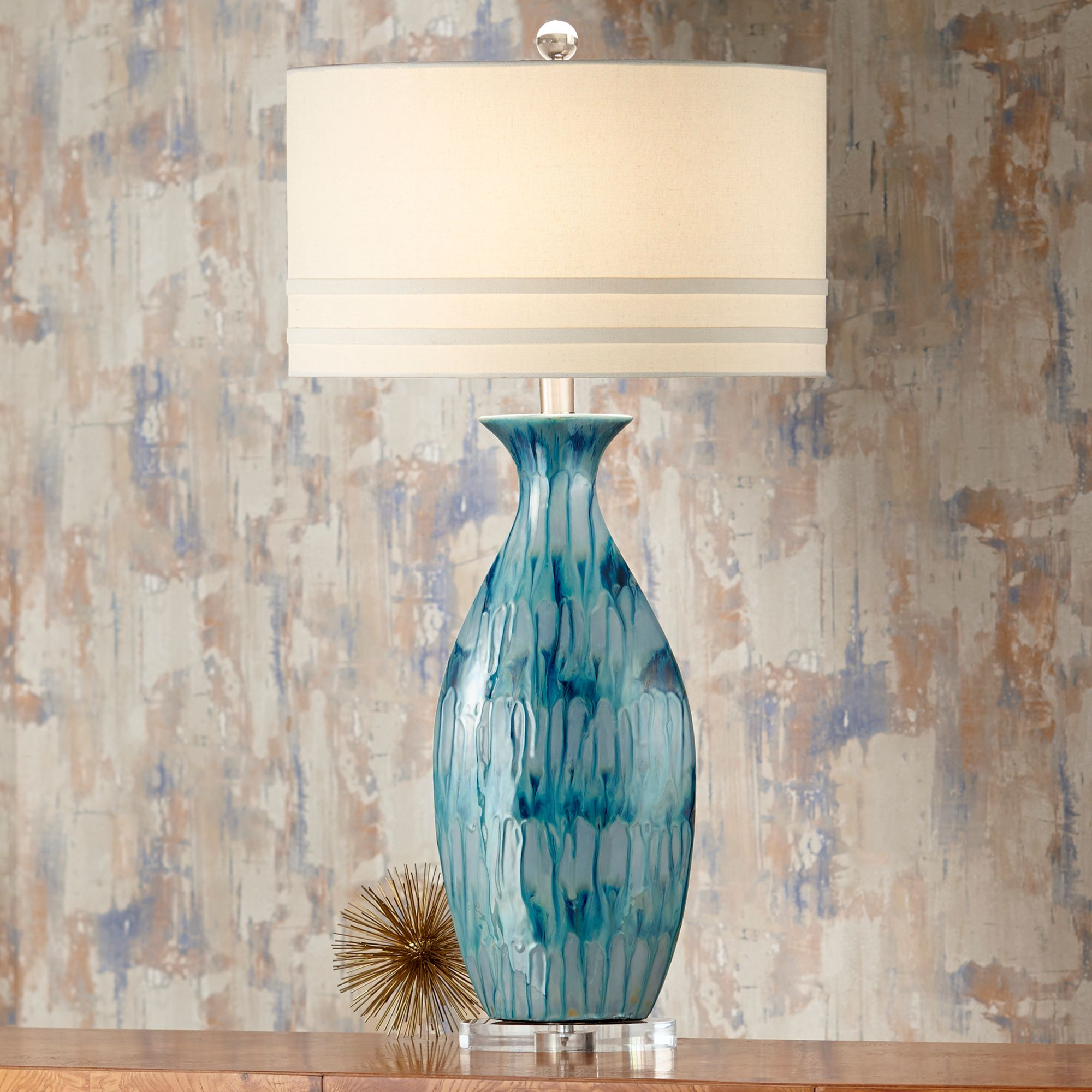 Possini Euro Annette Blue Drip Ceramic Table Lamp
