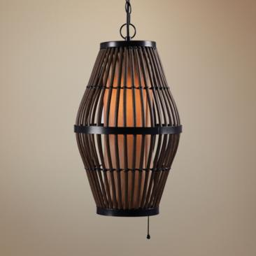 "Kenroy Home Biscayne 12"" Wide Black Outdoor Mini Pendant"