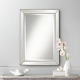 "Roseau Silver Pewter 24"" x 34"" Beaded Mirror"