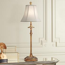Stiffel Dover Polished Honey Br Buffet Table Lamp