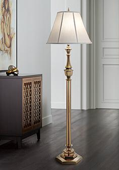 Stiffel floor lamps lamps plus stiffel redondo antique brass floor lamp aloadofball Images