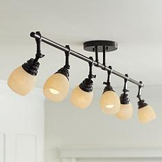 Art glass track lighting lamps plus pro track elm park collection bronze 6 light fixture mozeypictures