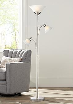 Floor lamps traditional to contemporary lamps page 2 lamps plus jordan brushed steel tree torchiere 3 light floor lamp aloadofball Images