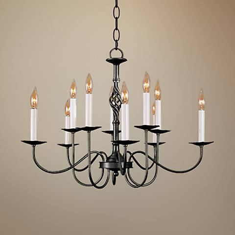 Hubbardton Forge Black Twist Font 10 Light  Chandelier