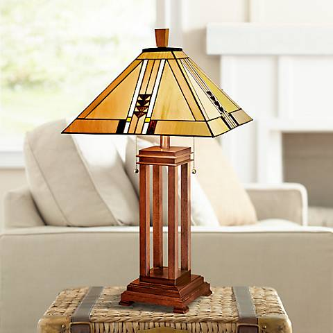 Mission Prairie Oak Table Lamp with 17W LED Bulbs