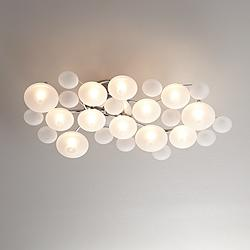 "Possini Euro Lilypad 30"" Wide Etched Glass Ceiling Light"