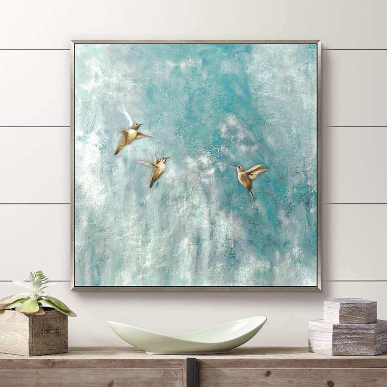 "Mid Air Summit 35"" Square Framed Canvas Wall"