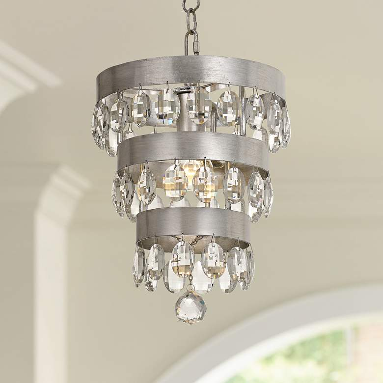 "Crystorama Perla 10""W Antique Silver Crystal Mini-Chandelier"
