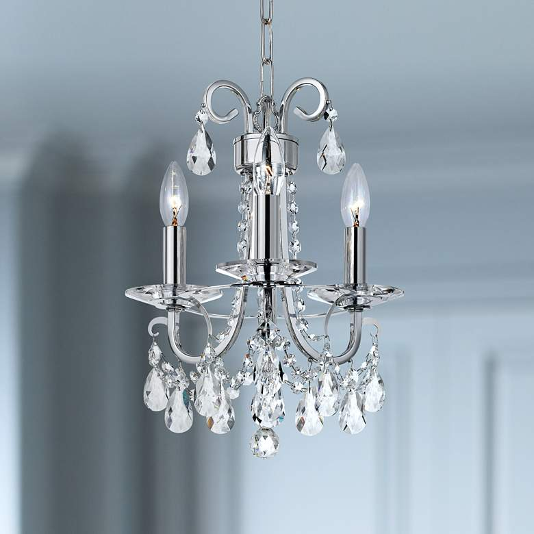 "Crystorama Othello 13""W Chrome 3-Light Crystal Chandelier"
