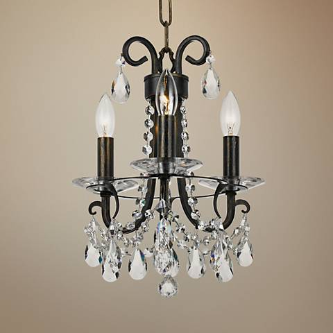 "Crystorama Othello 13""W Bronze 3-Light Crystal Chandelier"