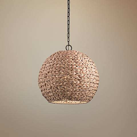 "Palisades 16 1/2""W Bronze and Natural Outdoor Pendant Light"