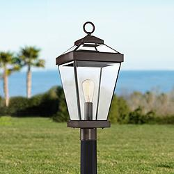 "Quoizel Ravine 22 1/2""W Western Bronze Outdoor Post Light"