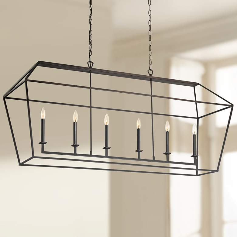 "Quoizel Aviary 54""W Bronze Kitchen Island Light Chandelier"