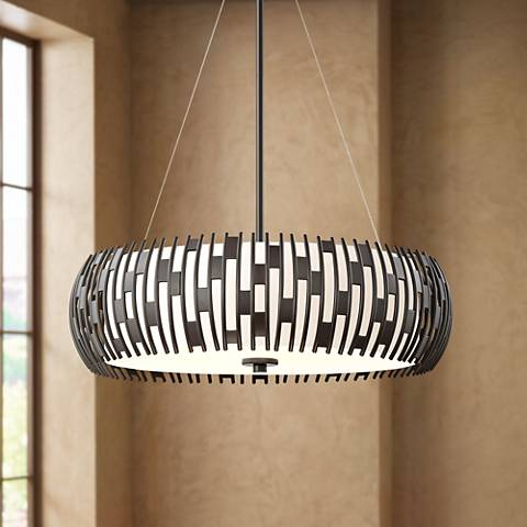 "Quoizel Brigade 22""W 4-Light Western Bronze Drum Pendant"