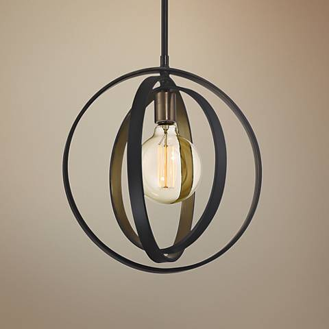 "Quoizel Circuit 14"" Wide Western Bronze Pendant Light"