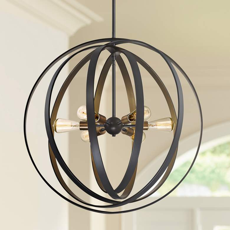 "Quoizel Circuit 30"" Wide 6-Light Western Bronze Pendant"