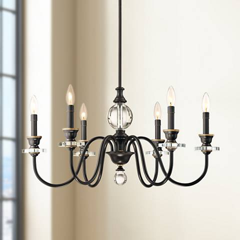 "Quoizel Ceremony 28""W Palladian Bronze 6-Light Chandelier"