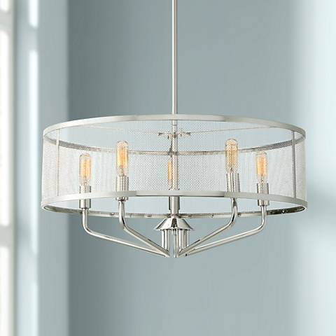 "Quoizel Cityscape 22"" Wide 5-Light Polished Nickel Pendant"