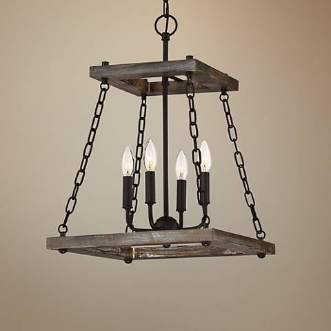 "Quoizel Dwelling 15"" Wide Bronze Wood 4-Light Chandelier"