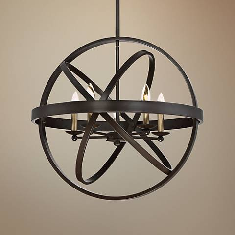 "Quoizel Eons 23"" Wide 4-Light Adjustable Bronze Pendant"