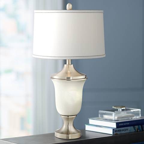 Leanne Alabaster Urn Table Lamp with LED Night Light Bulb