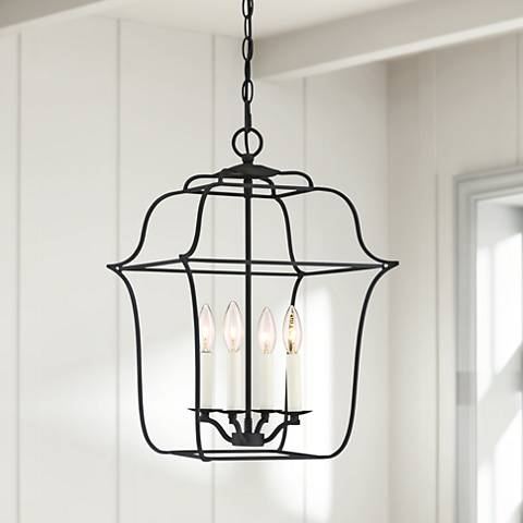 "Quoizel Gallery 14"" W 4-Light Royal Ebony Cage Chandelier"