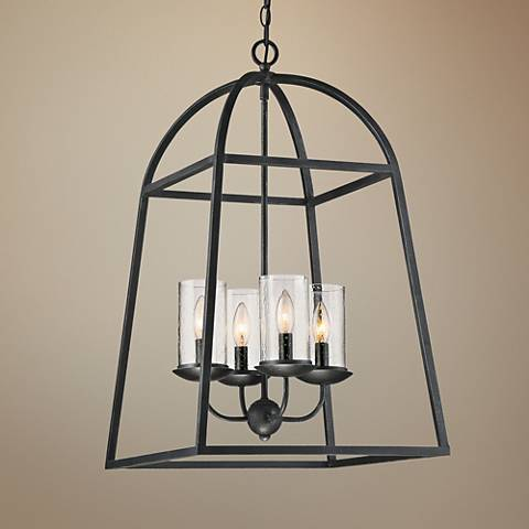 "Quoizel Gazebo 17"" Wide Gray Ash 4-Light Cage Chandelier"