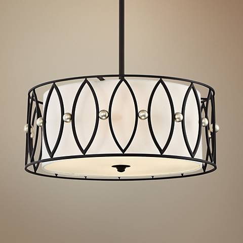"Quoizel Gateway 20"" Wide Mystic Black Drum Pendant Light"