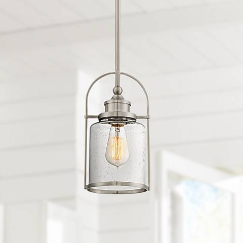 "Quoizel Payson 6 1/2"" Wide Brushed Nickel Mini Pendant"
