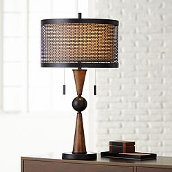 Hunter Bronze and Cherry Wood Table Lamp