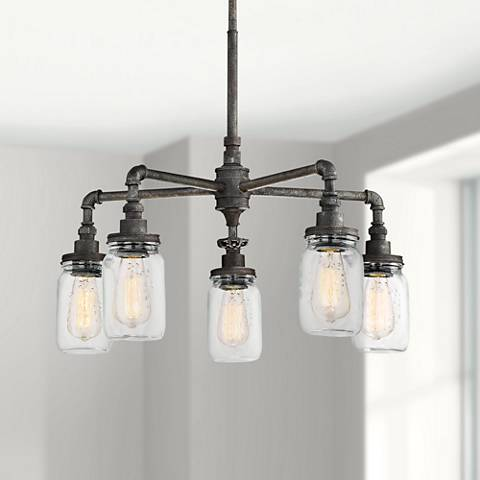 "Quoizel Squire 26"" Wide Rustic Black 5-Light Chandelier"
