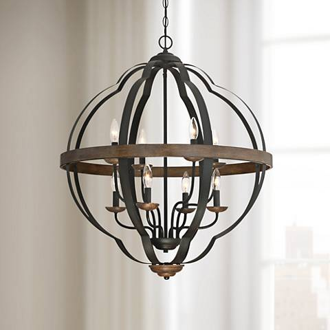 "Quoizel Siren 28""W 8-Light Black Metal Cage Foyer Chandelier"