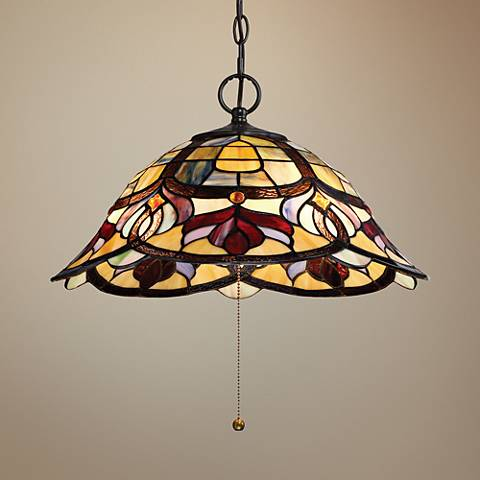 "Quoizel Garland 19 1/2""W Bronze Tiffany Style Pendant Light"