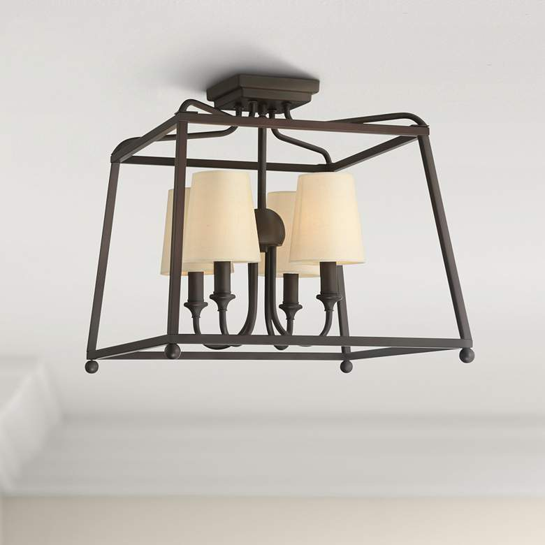 "Crystorama Sylvan 16"" Wide 4-Light Dark Bronze Ceiling"