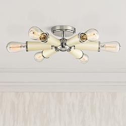 "Crystorama Zodiac 14""W 6-Light Polished Nickel Ceiling Light"